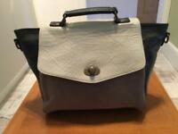 REAL LEATHER AND SUEDE HANDBAG