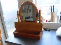 PINE DRESSING TABLE MIRROR IS BRAND NEW WITH COMPARTMENT CAN DELIVER