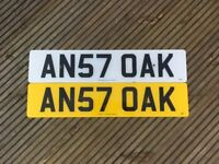 AN57 OAK PRIVATE NUMBER PLATE.