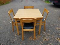 Ikea Oak Bjursta Extending Table 90-169cm & 4 Solid Oak Roger Chairs FREE DELIVERY 364