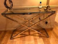 Modern metal consul table