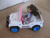 BARBIE JEEP - with free doll - GREAT CONDITION - CHEAP PRICE!