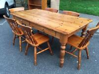 Solid Pine Farmhouse Table & Chair Set. Delivery Possible