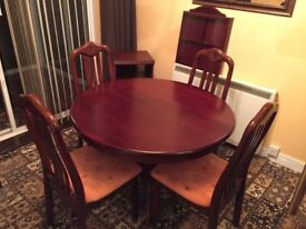 "Mahogany round Dining Table 42"" with 4 chairs"