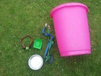 LARGE DOG BISCUIT/TREAT TUB WITH SCOOP LEAD, BOWL AND NEW COLLAR