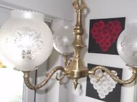 Antique Brass Ceiling Light - Lovely Detail.
