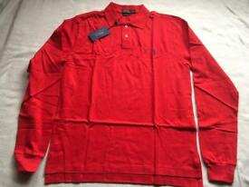 Ralph Lauren men's polo shirt size Large red long sleeves red new £18