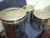 three large quality still storage tins,ideal for kitchen & any other items,only £25.stanmore,middx..