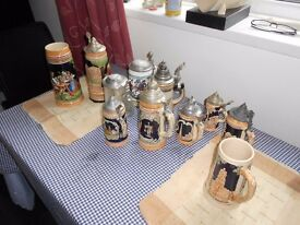 Collection of Ceramic & Glass German Beer Steins