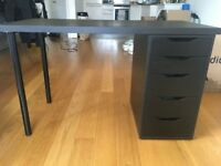 Black modern desk with drawers