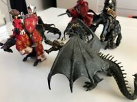 3 knights & horses figurines