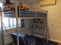 Metal Frame Bunk Bed with Mattress, Futon and Desk