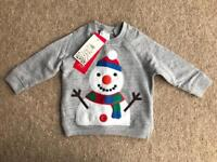 BRAND NEW WITH TAGS BABY F&F CHRISTMAS SNOWMAN TOP SIZE 3-6 MONTHS