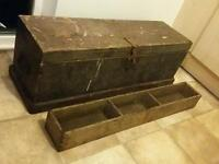 Old Wooden Tool Chest Storage Trunk