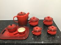 Lovely red Le Creuset stoneware table set