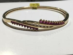 "#1497 14K BEAUTIFUL GOLD LADIES DIAMOND RUBY BANGLE 7"" AROUND *JUST BACK FROM APPRAISAL AT $3350.00!"