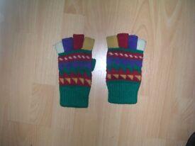 Multi coloured finger-less gloves