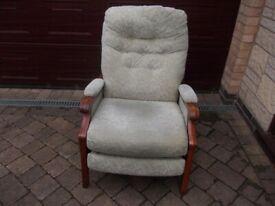 Light green reclining chair good condition