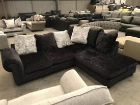 New Navy genuine crushed velvet corner sofa