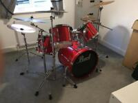 Pearl export 5 piece drum set & cymbals