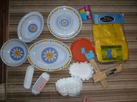 Picnic dishes, plastic dishes, jug, outdoor picnicware cooler bag etc