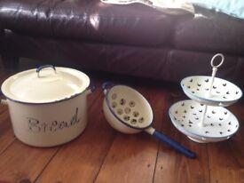 Bread bin, cake stand, sieve
