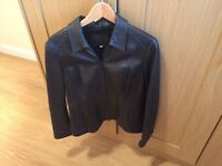 Women's Leather Jacket Marks and Spencer M&S Black Size 14 (Fantastic Condition)