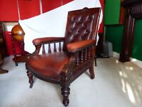 Arm Chair / Antique Large Stunning / real leather and wood