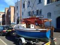 Closely Picarooner sailing dayboat. 16ft classic sail boat with cabin and trailer