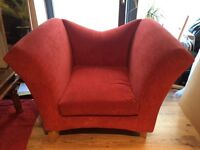 PAIR OF RED FABRIC ARMCHAIRS - can be sold individually