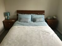 Double Bed With Mattress and Two Matching Bedside Tables