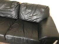 Large Black 3 Seater Sofa