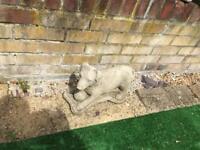 Dog and ball concrete stone garden ornamen