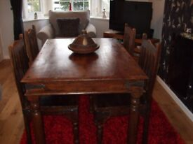 Solid Wood Indian Sheesham Dining Table and Chairs