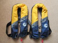 Two Marinepool 150n auto/manual lifejackets