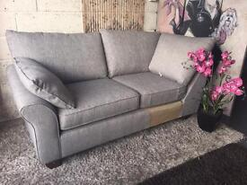 New Harvey's Cargo Grayson 3 Seater Corner Chaise Sofa in Shadow Grey Fabric