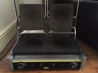 Buffalo Bistro Contact Grill Double Ribbed, Second hand but only used once for trial