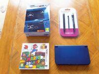 New Nintendo 3DS XL Console Metallic Blue with Rare Top IPS Screen + Super Mario 3D Land Game Bundle