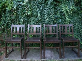 Reclaimed Vintage Stained Wooden Stacking Church Chairs Dining Occasional Props