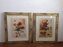 REDUCED - Two Floral Pictures in gold and bronze mosaic frames Butler Wanneroo Area Preview