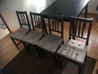 4 chairs plus extended table 90cm/90 to 165cm/90cm black or ikea call black brown