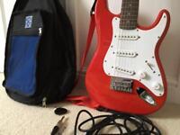Fender Electric Red mini guitar w/case,plucks&amplead