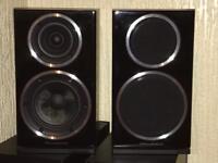 Wharfedale Diamond 220 black bookshelf speakers.