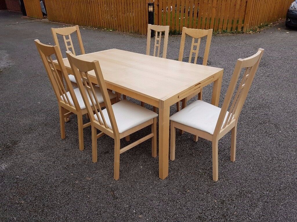 Ikea Solid Wood Extending Table & 6 Chairs Fabric Seats FREE DELIVERY 071