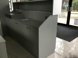 Reception desk and shelving
