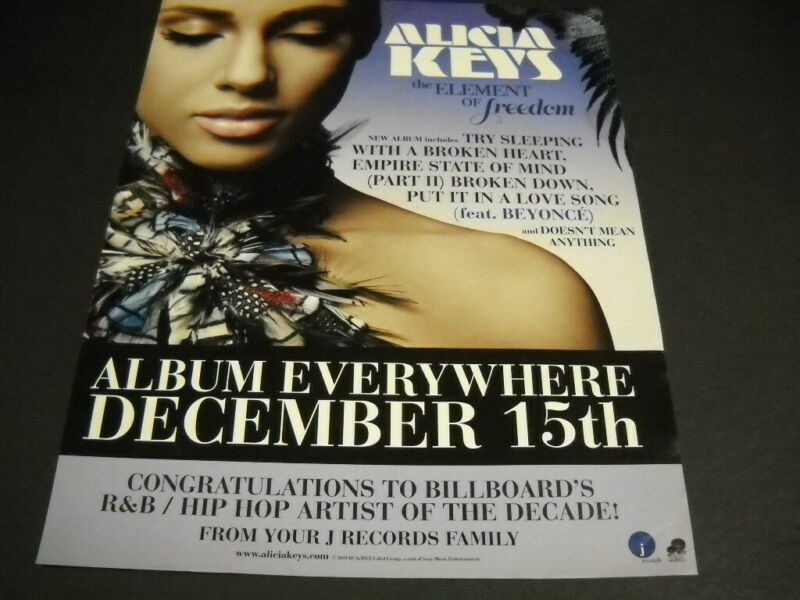 ALICIA KEYS will be evrywhere on DECEMBER 15, 2009 PROMO POSTER AD mint cond.