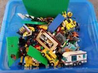 Box of Lego baseplates etc