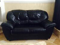 DFS superior genuine antique Italian leather 2 seater sofa black excellent condition can deliver