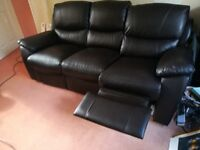 Dark Brown 3 seater reclining sofa and 2 seater reclining sofa