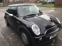 Mini one 1.6 auto 2001, black, 3 doors, 77k s/h, vgc, air con, mot until Jan 2018